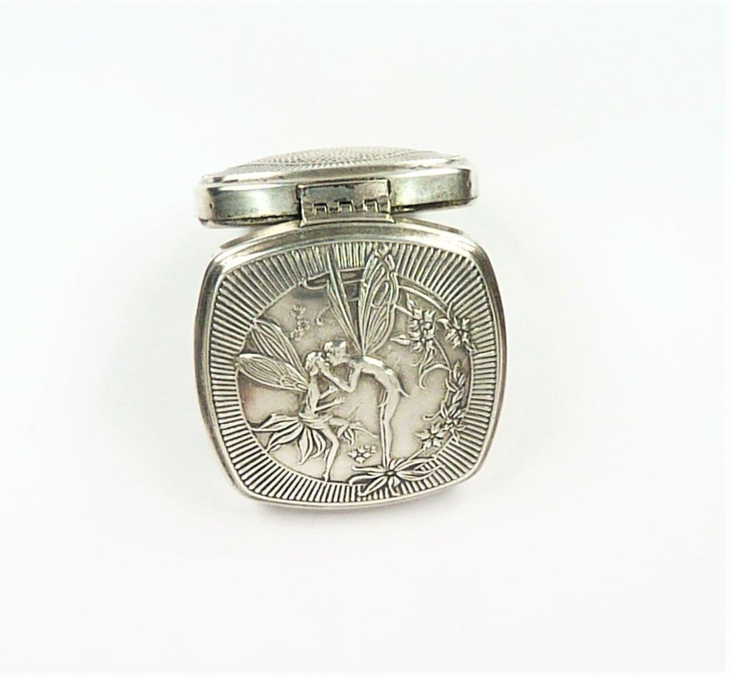 Djer Kiss Fairy Silver Plated Antique Compact Mirror