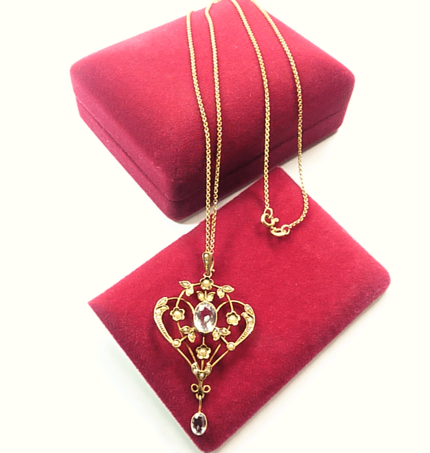 Edwardian Necklace With Chain Hallmarked Gold