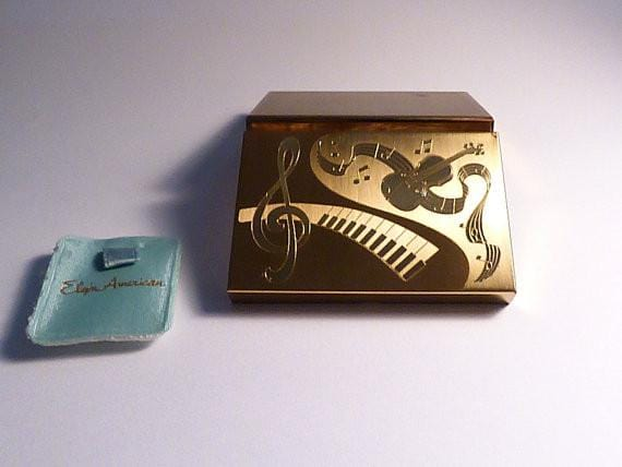 Unused Elgin American musical powder box musical compact mirrors 1940s