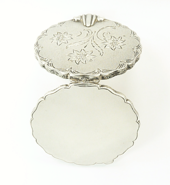 Engraved Silver Handbag Mirror