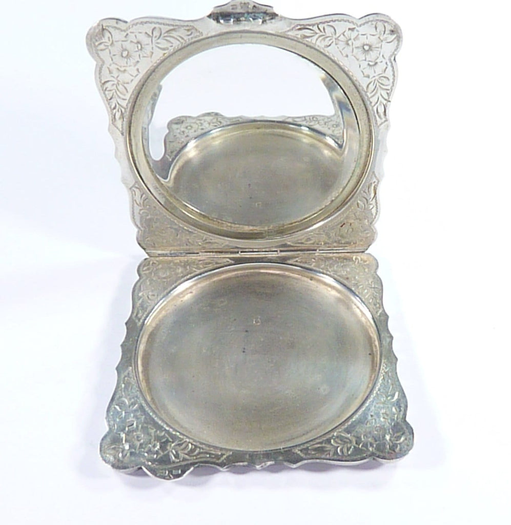 Engraved Silver Compact Mirror