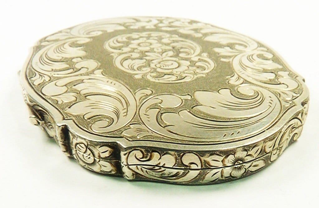 Engraved Silver Makeup Compact