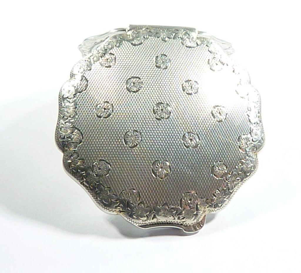 Engraved Solid Silver Compact Mirror