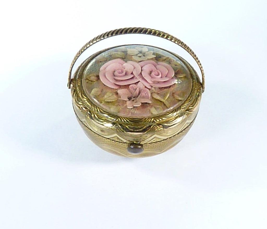 Flower Basket Pink Flowers Powder Compact