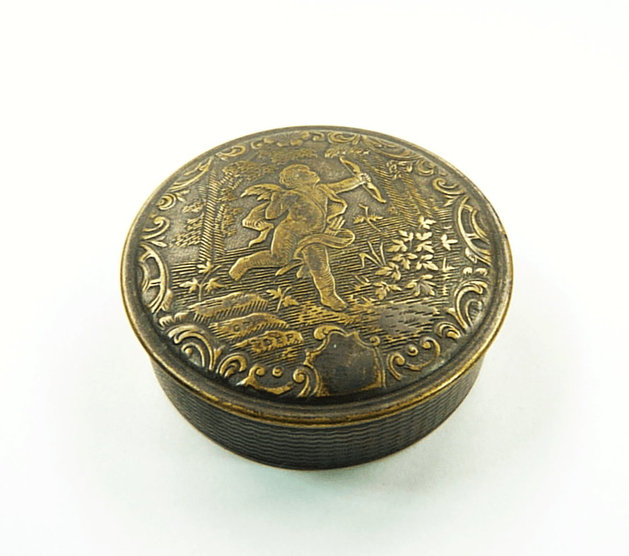 French Antique Powder Box Heavy Patina Cupid