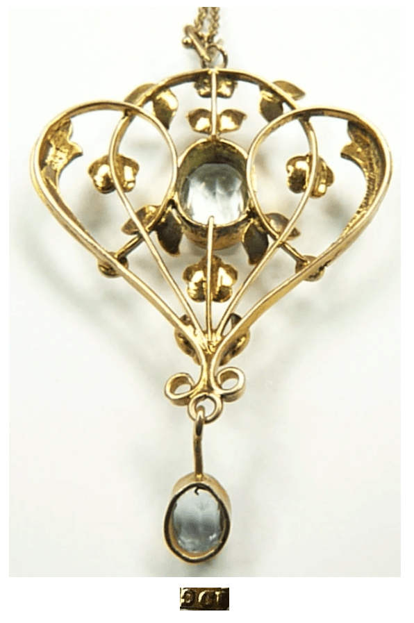 Gold Hallmarked 1900s Pendant With Pearls