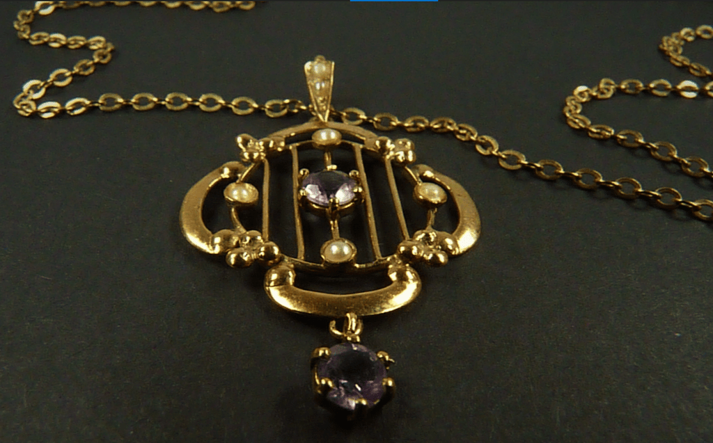 Gold Pearl Amethyst Pendant And Chain