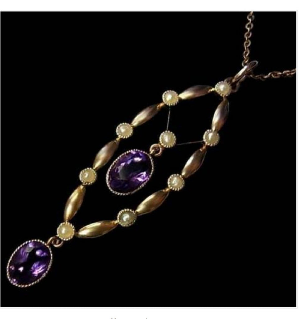 Gold Amethyst Seed Pearl Antique Necklace