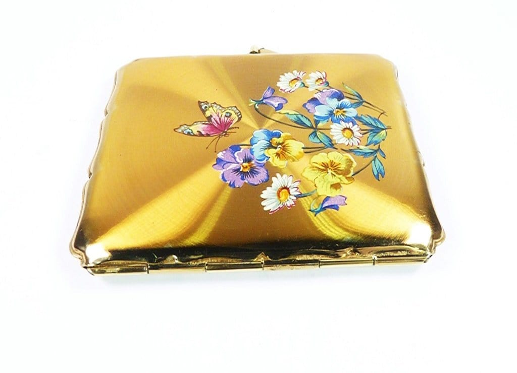 Golden Enamel Stratton Butterfly Business Card Case