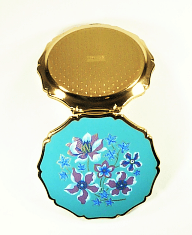 Gorgeous Unused TurquoiseGoldAndPurpleStrattonPowderCompact