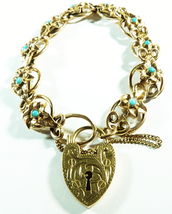Hallmarked Gold And Turquoise Bracelet