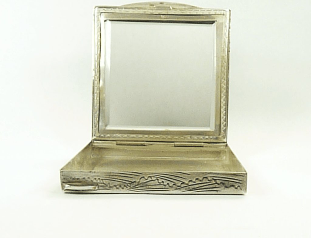 Hallmarked Silver Compact Case With Mirror
