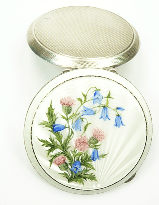 Hallmarked Silver Makeup Compact Thistles Harebell Lid