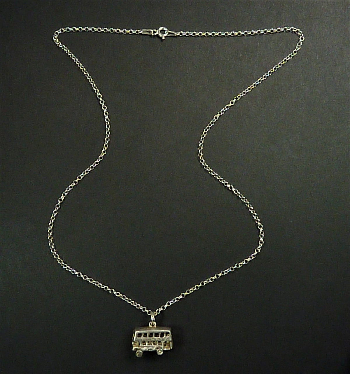 Hallmarked Sterling Silver Belcher Chain Necklace With Vintage Bus Pendant
