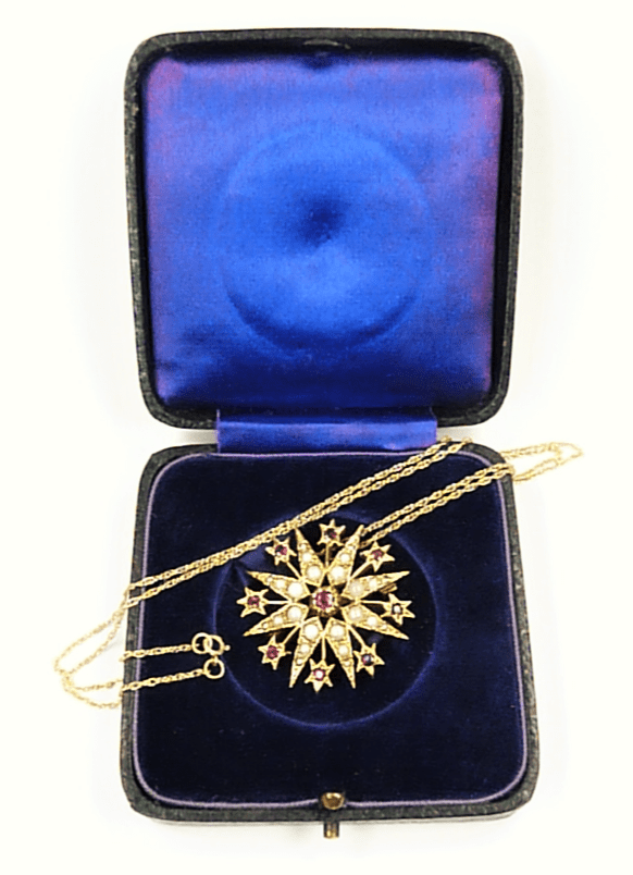 Hallmarked Victorian Seed Pearl Star Pendant Necklace.