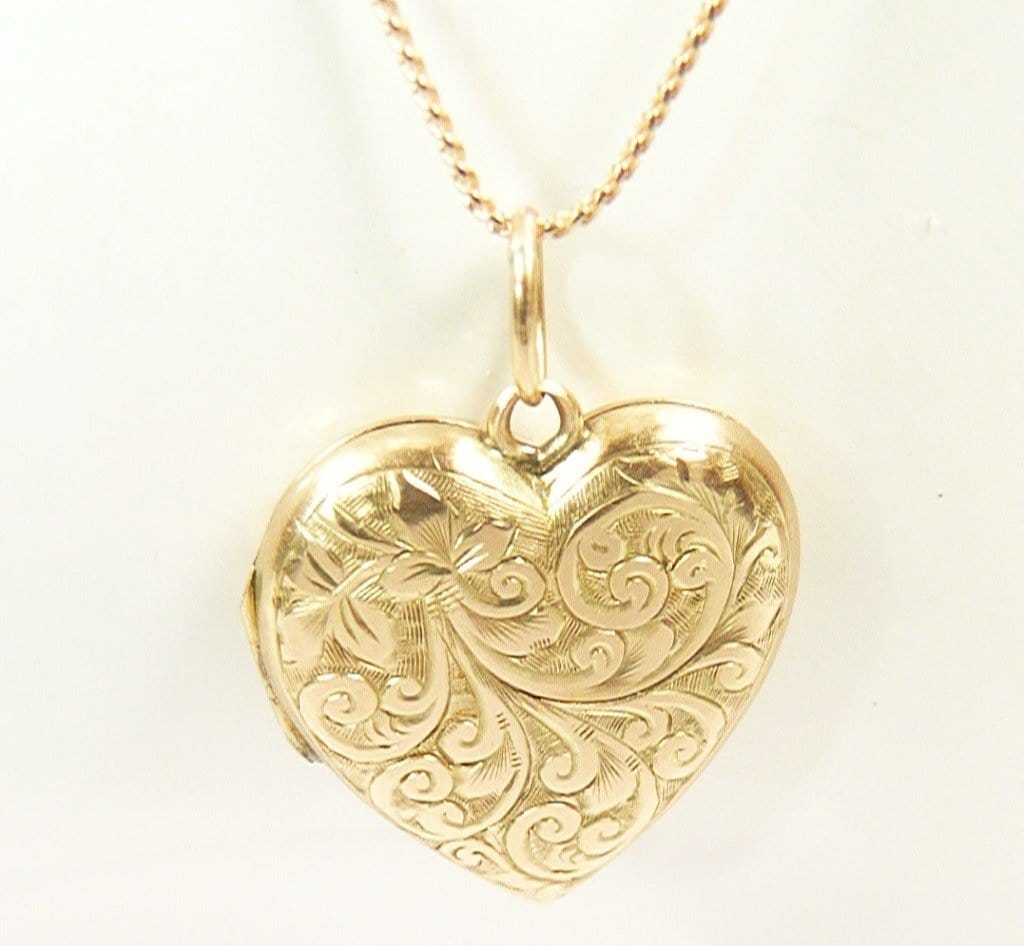 Hallmarked Gold Heart Locket With Necklace