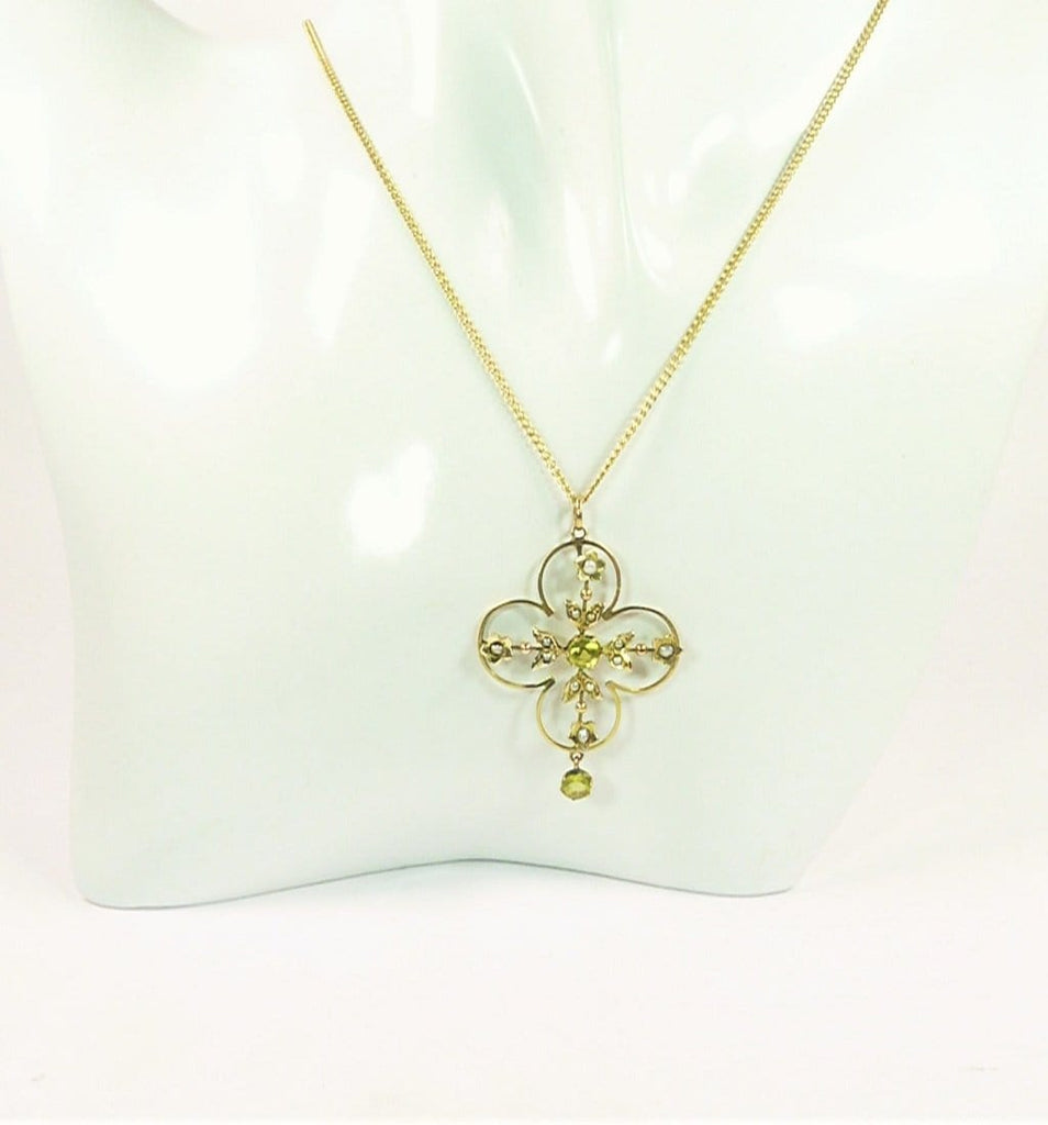Cruciform Gold Peridot Necklace