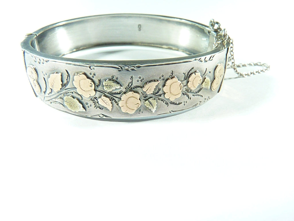 Hallmarked Victorian Aesthetic Silver & Gold Cuff Bracelet