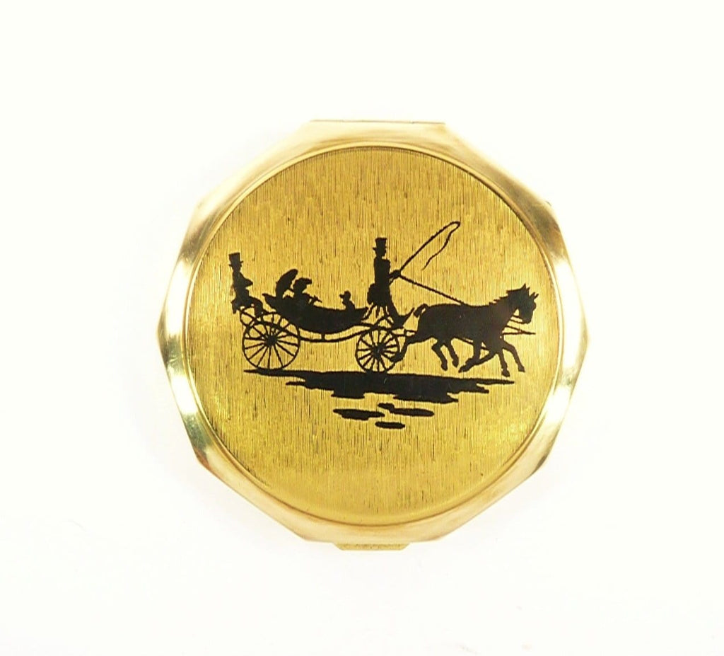 Horse Carriage Stratton Compact Puff Pouch Sifter