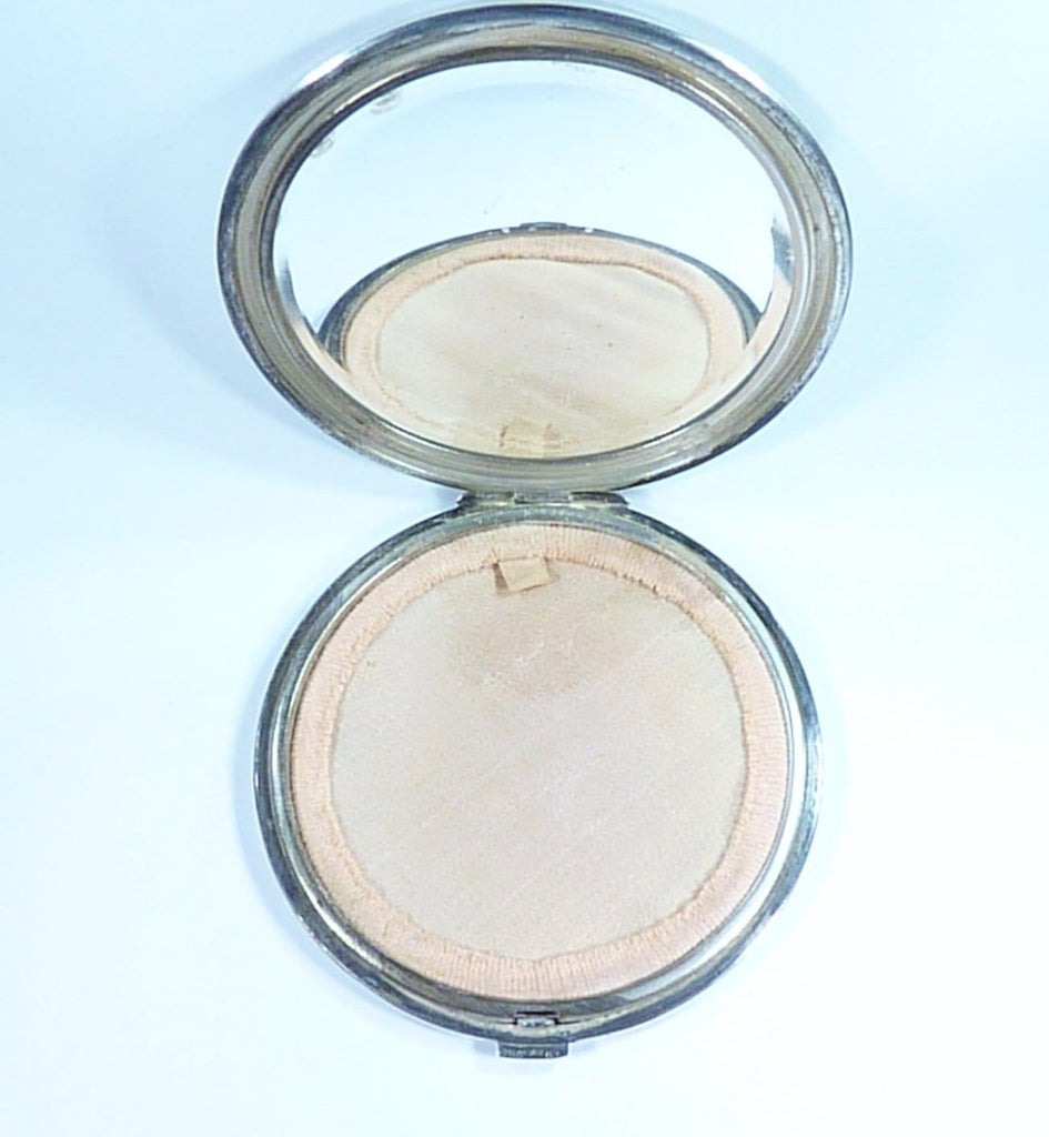 Huge Continental Silver Compact Mirror