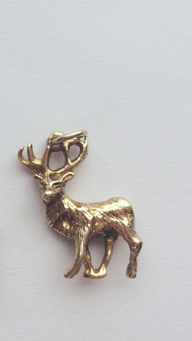 Hallmarked Gold Charm 9 ct Gold Stag Charm / Pendant c.1940