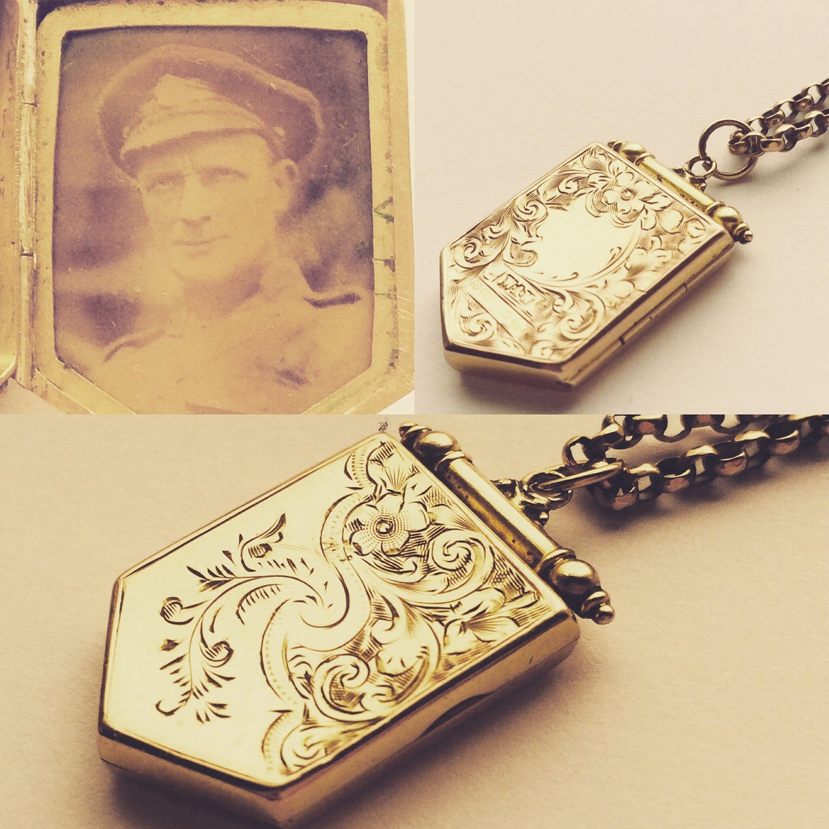 Antique Gold Lockets 9ct Hallmarked Gold Pendants 1916 Antique 9k Gold Necklace