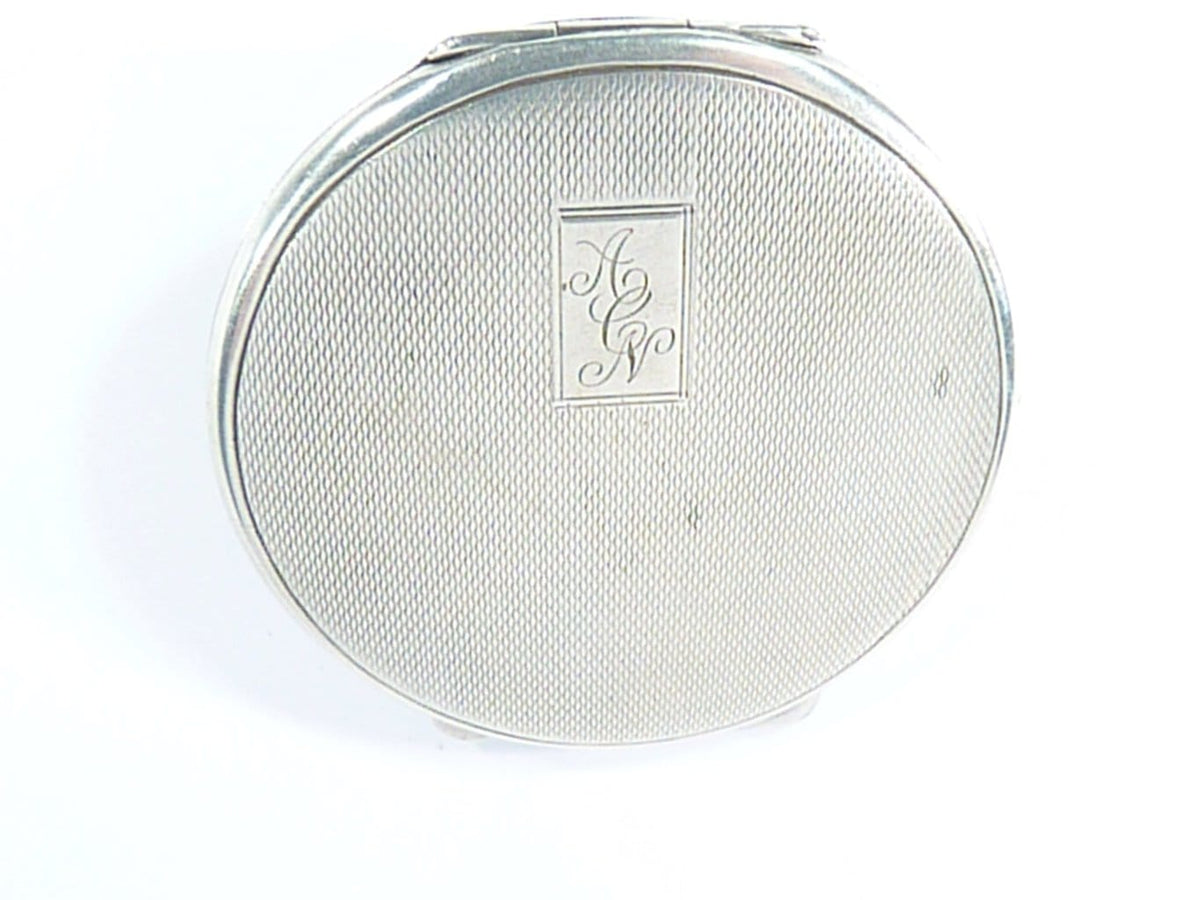 Initials A C N Silver Engraved Compact Mirror