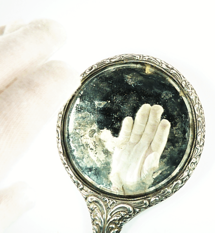 Large Solid Silver Edwardian Dressing Table Hand Mirror