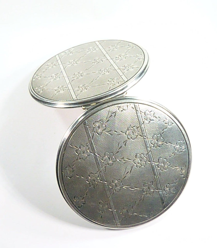 Large Art Deco Silver Loose Powder Compact