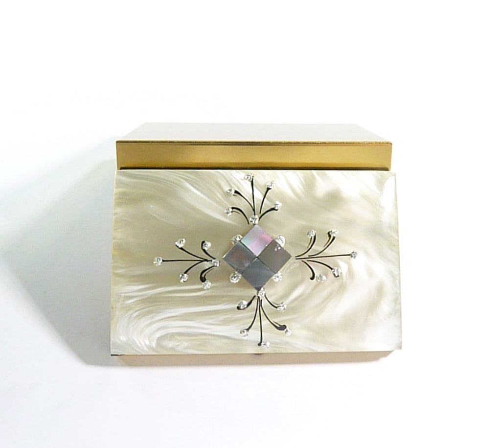 Lucite and abalone powder box 1940s film props