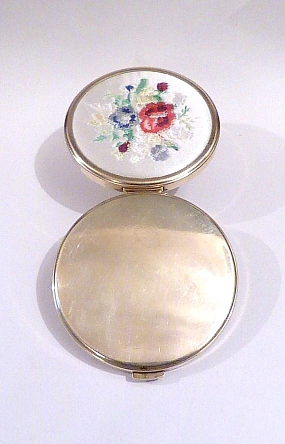 Needlepoint  vintage compact mirrors