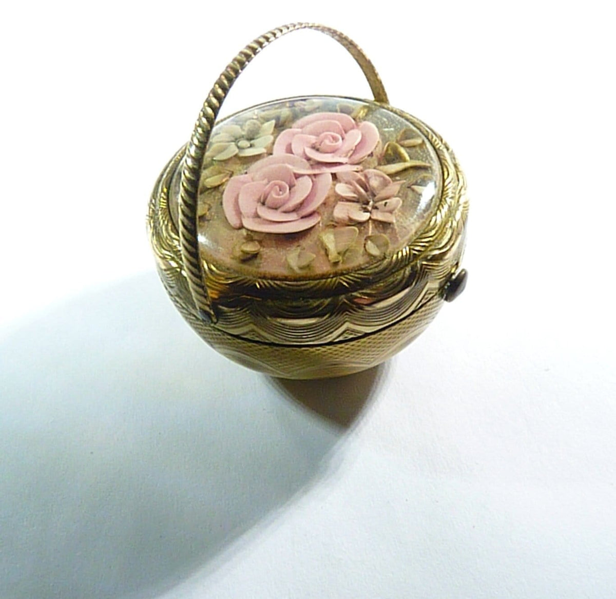 Old Basket Shaped Powder Compact Mirror