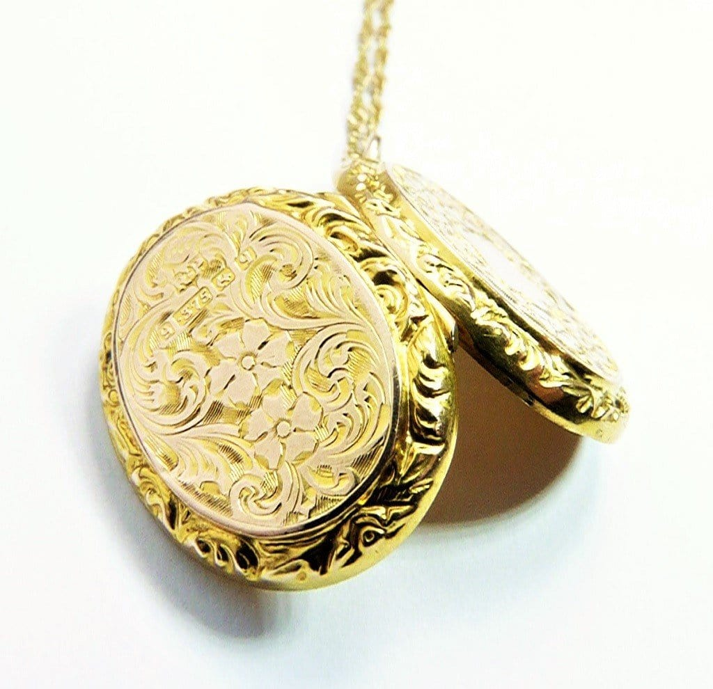 Ornate Antique Yellow Gold Locket Necklace