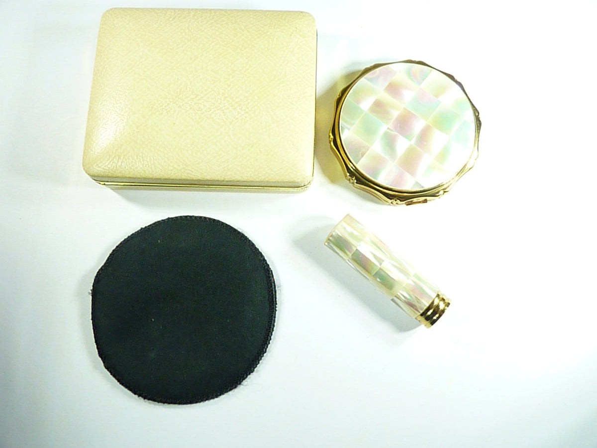 1960s Kigu Vanity Set Film Props Mother Of Pearl Compact / Lipstick