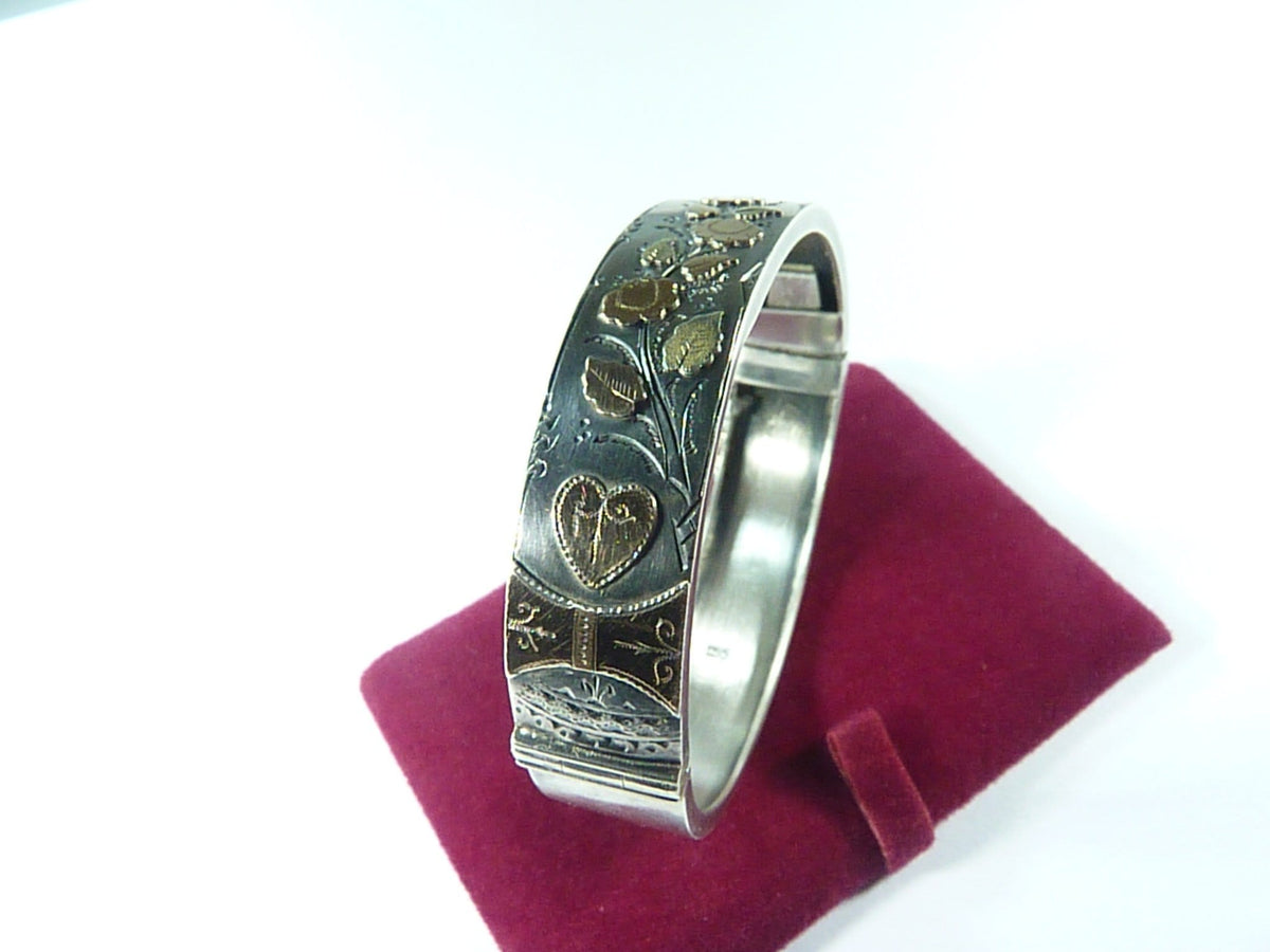 Victorian Aesthetic Movement Hallmarked Silver And Gold Bangle 1887