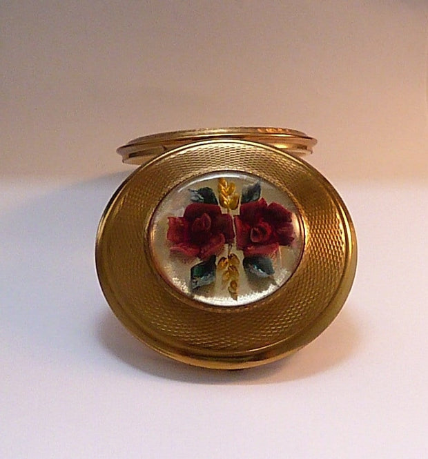 Vintage Kigu Lucite RED ROSES compact vintage compact mirrors 1960s bridesmaids gifts - The Vintage Compact Shop