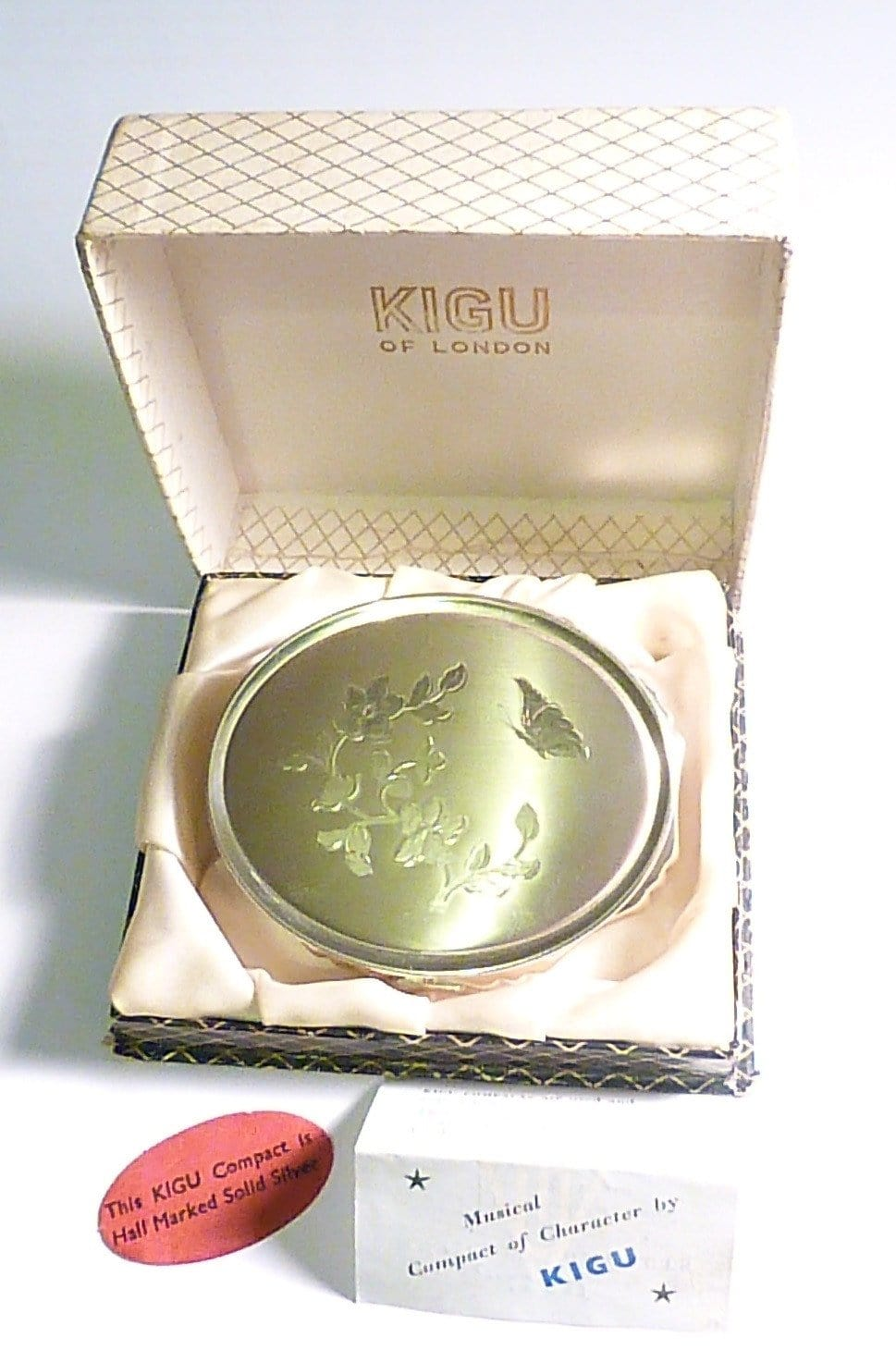 Rare sterling silver musical Kigu powder box / compact 1959 silver wedding anniversary gifts for her - The Vintage Compact Shop