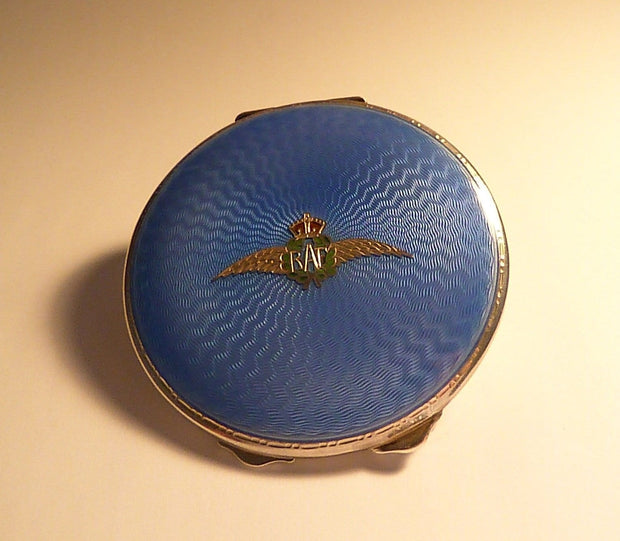 Antique guilloche compacts solid silver RAF blue enamel fully hallmarked powder compacts 1938 - The Vintage Compact Shop