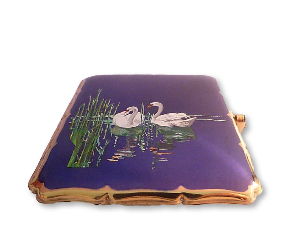 Vintage cigarette cases enamel Stratton bird series business card cases 1950 SWANS - The Vintage Compact Shop