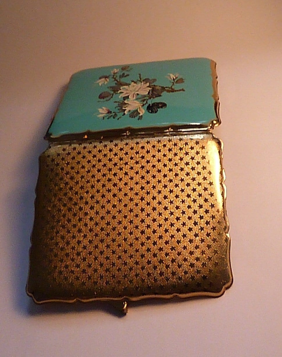 Turquoise enamel business card cases 1950s Stratton cigarette cases floral enamel gift for her - The Vintage Compact Shop