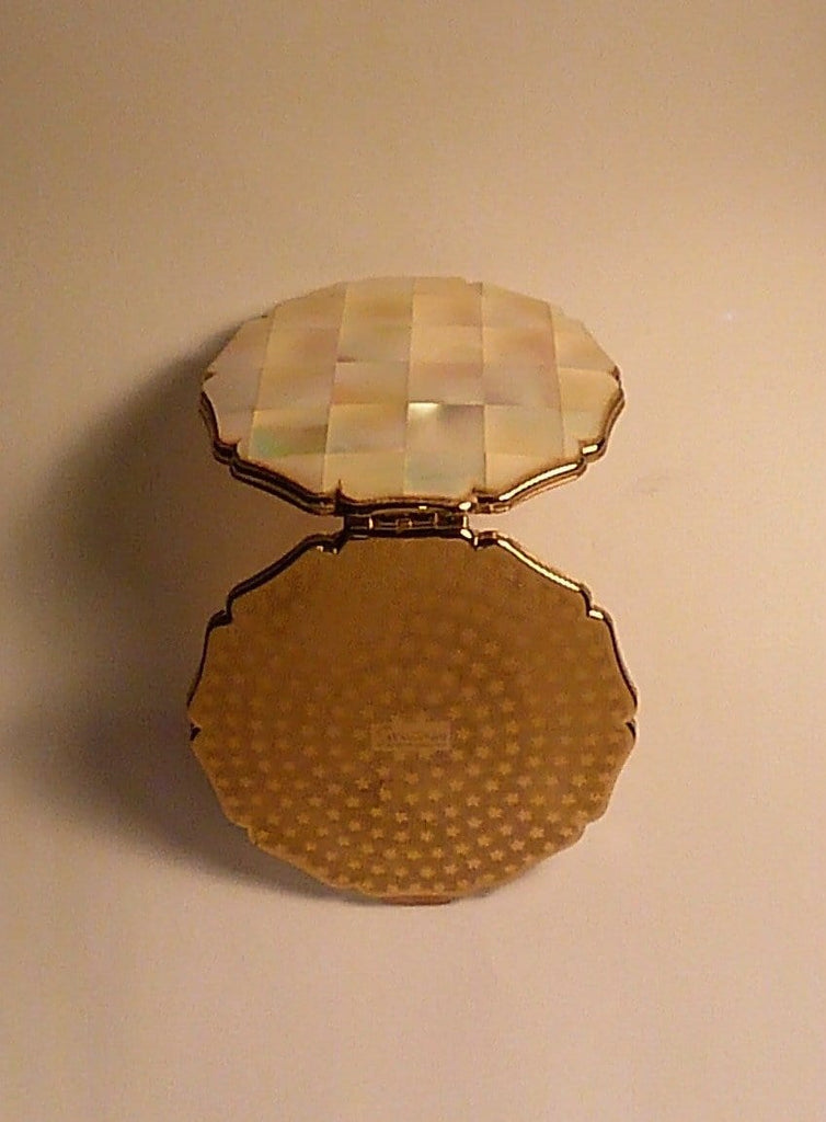 Mother of pearl Stratton powder compact vintage 1960s - The Vintage Compact Shop