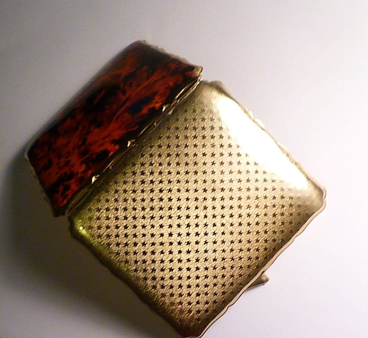 Rare flame red and black enamel vintage Stratton cigarette case 1950s business card case - The Vintage Compact Shop