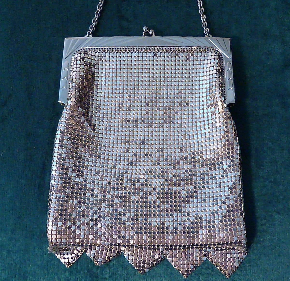 Silver tone Whiting & Davis mesh bag silver evening bags retro bridal accessories 1960s - The Vintage Compact Shop