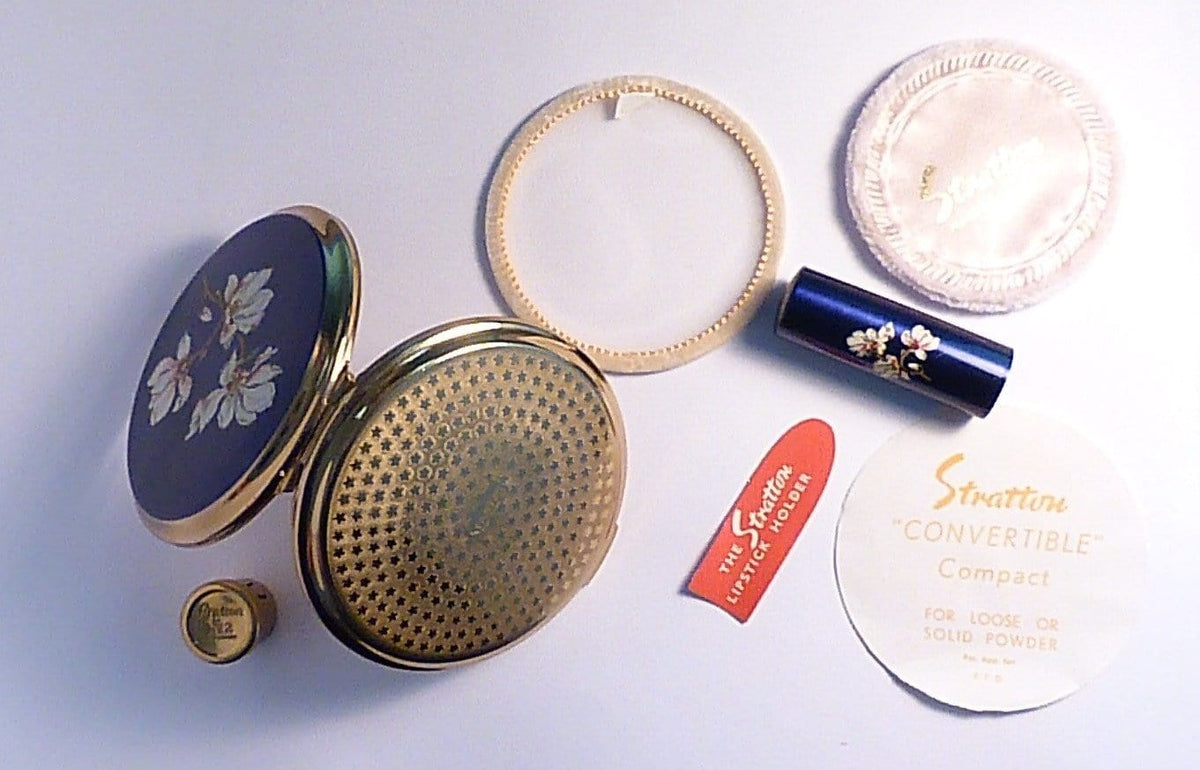 Unused Stratton powder compacts 1960s Stratton enamel set vintage lipsticks - The Vintage Compact Shop