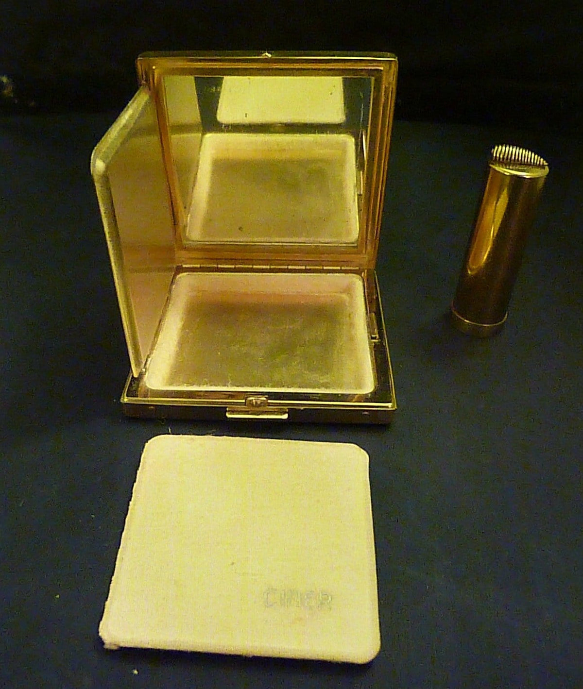 Vintage Ciner Art Deco compact & lipstick vintage powder compacts vintage lipsticks compacts for sale compact duos powder mirrors gifts - The Vintage Compact Shop