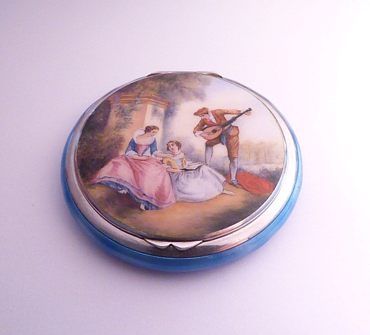Antique silver wedding anniversary gifts for her 1920s sterling silver Austrian enameled compact mirror - The Vintage Compact Shop