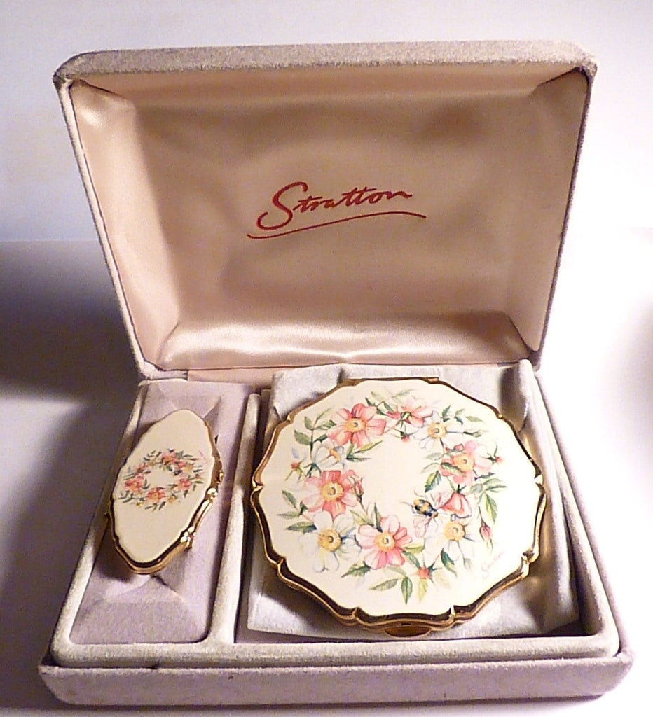 Unused compacts vintage Stratton set vanity sets cased Stratton compact and lipstick holder / lipstick handbag mirrors - The Vintage Compact Shop