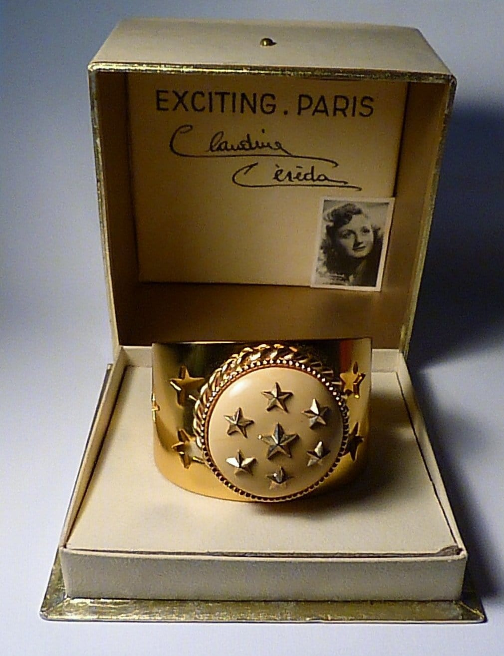 Extremely rare bracelet compact Albert FLAMAND Claudine Cereda  EXCITING PARIS promotional compact  Claudine Céréda