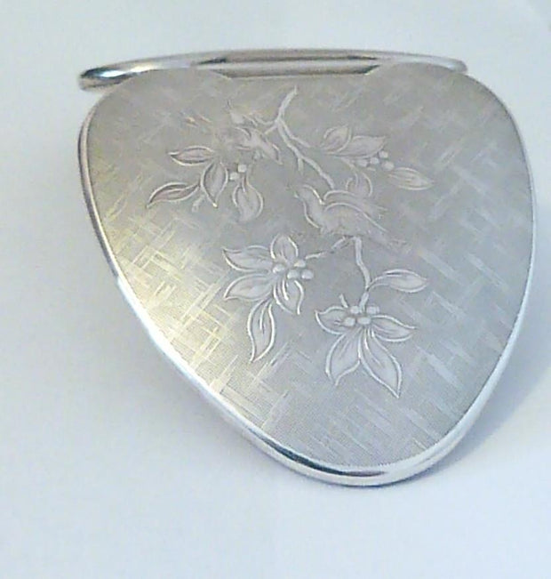 Rare Sterling Silver Kigu Lovebird Heart Shaped Powder Compact