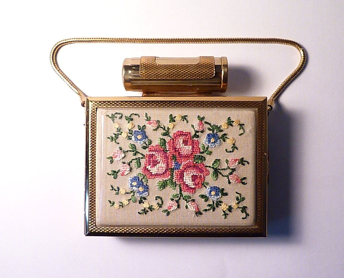 Boxed petit point Kigu Party Case 1960s evening bag